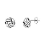 14K White Gold Medium Double Tube Love Knot Earring