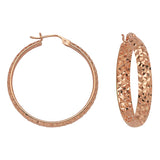 "14K Rose Gold 3 mm Diamond Cut Hoop Earrings 0.8"" Diameter"