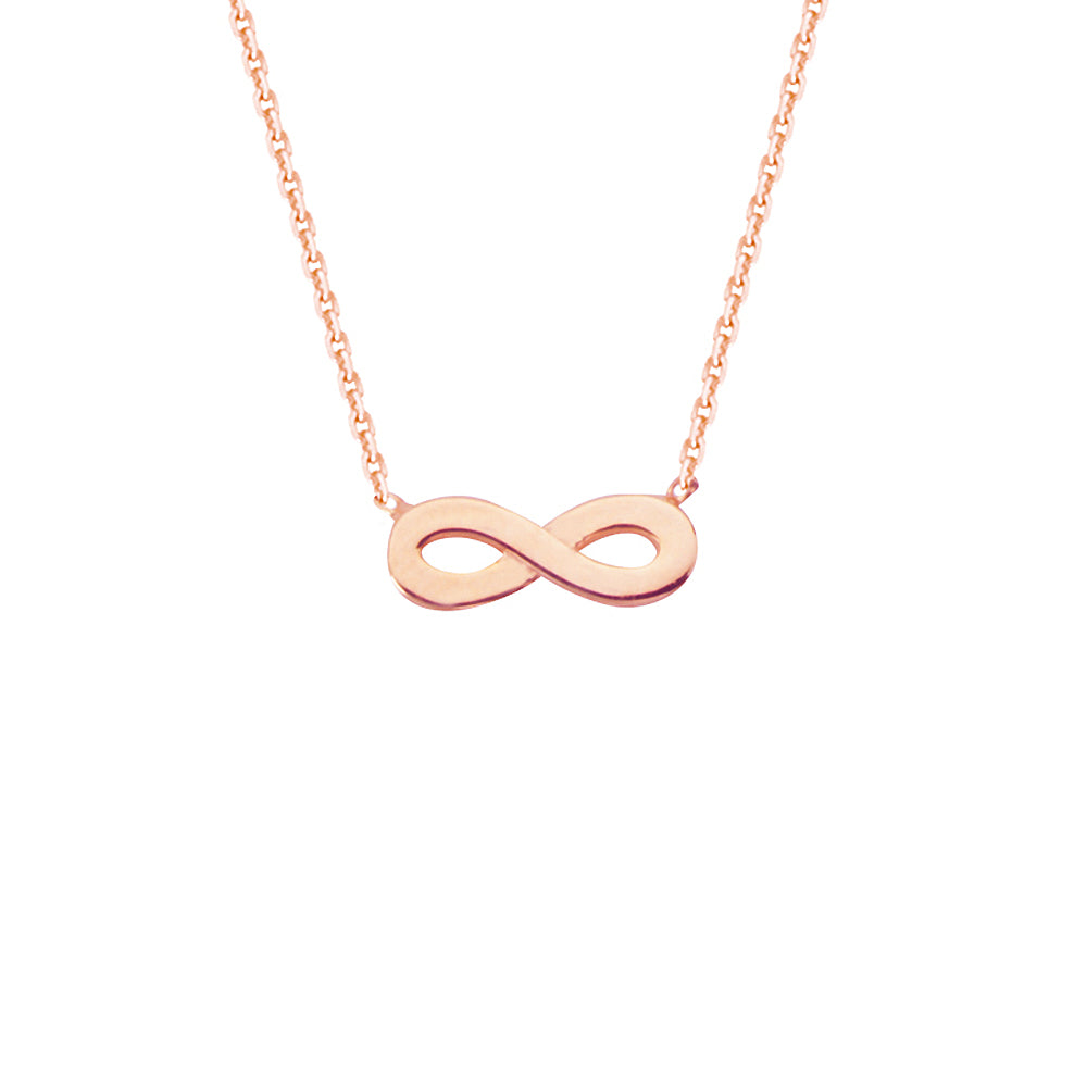 "14K Rose Gold Infinity Necklace. Adjustable Diamond Cut Cable Chain 16"" to 18"""