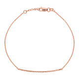 "14K Rose Gold Diamond Cut Bar Bracelet. Adjustable Cable Chain 7"" to 7.50"""