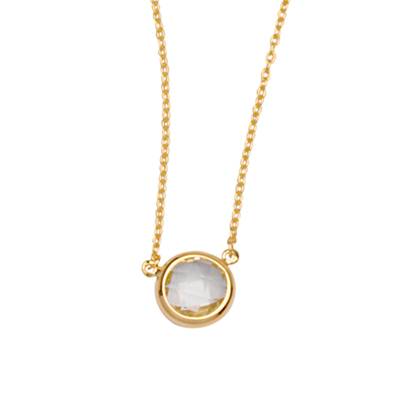 "14K Yellow Gold Bezel Set White Topaz Necklace. Adjustable Cable Chain 16"" to 18"""