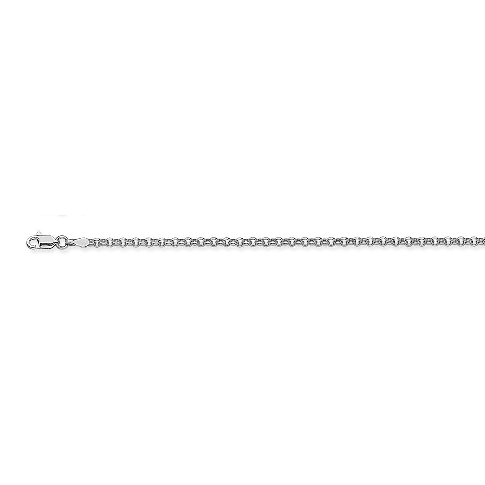 14K White Gold 2.5 Rolo Chain in 16 inch, 18 inch, 20 inch, & 24 inch