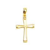 14K Yellow Gold Center Cut Out Tapering Cross Pendant