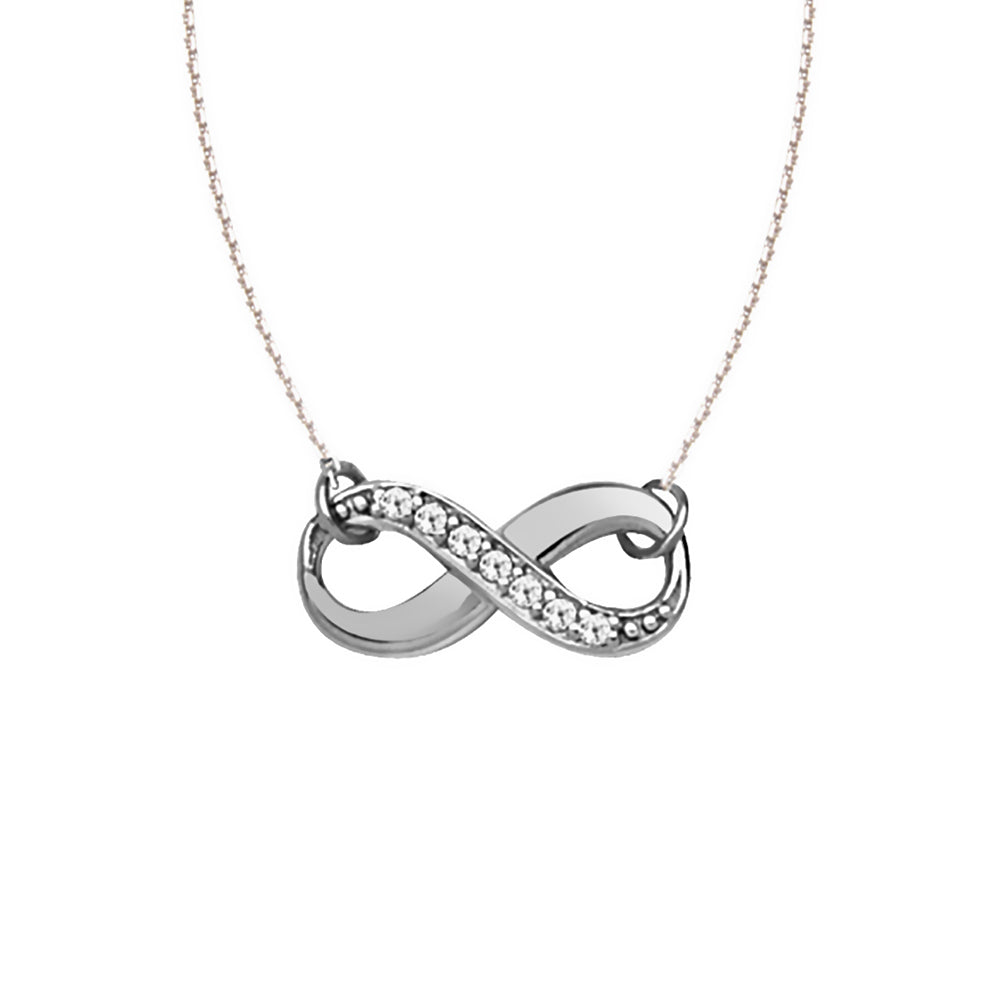 "14K White Gold Infinity Diamond Necklace. Adjustable Cable Chain 16"" to 18"""