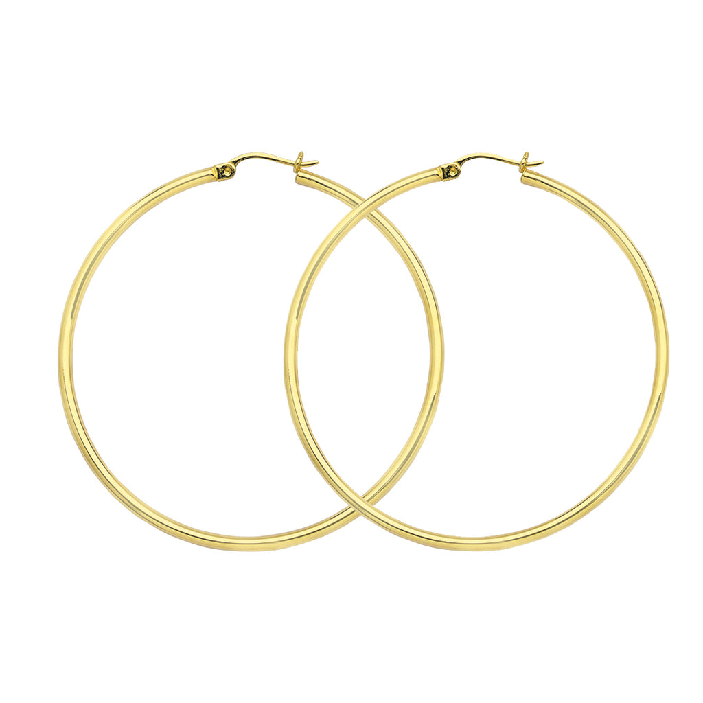 "10K Yellow Gold 2 mm Polished Round Hoop Earrings 1.2"" Diameter"
