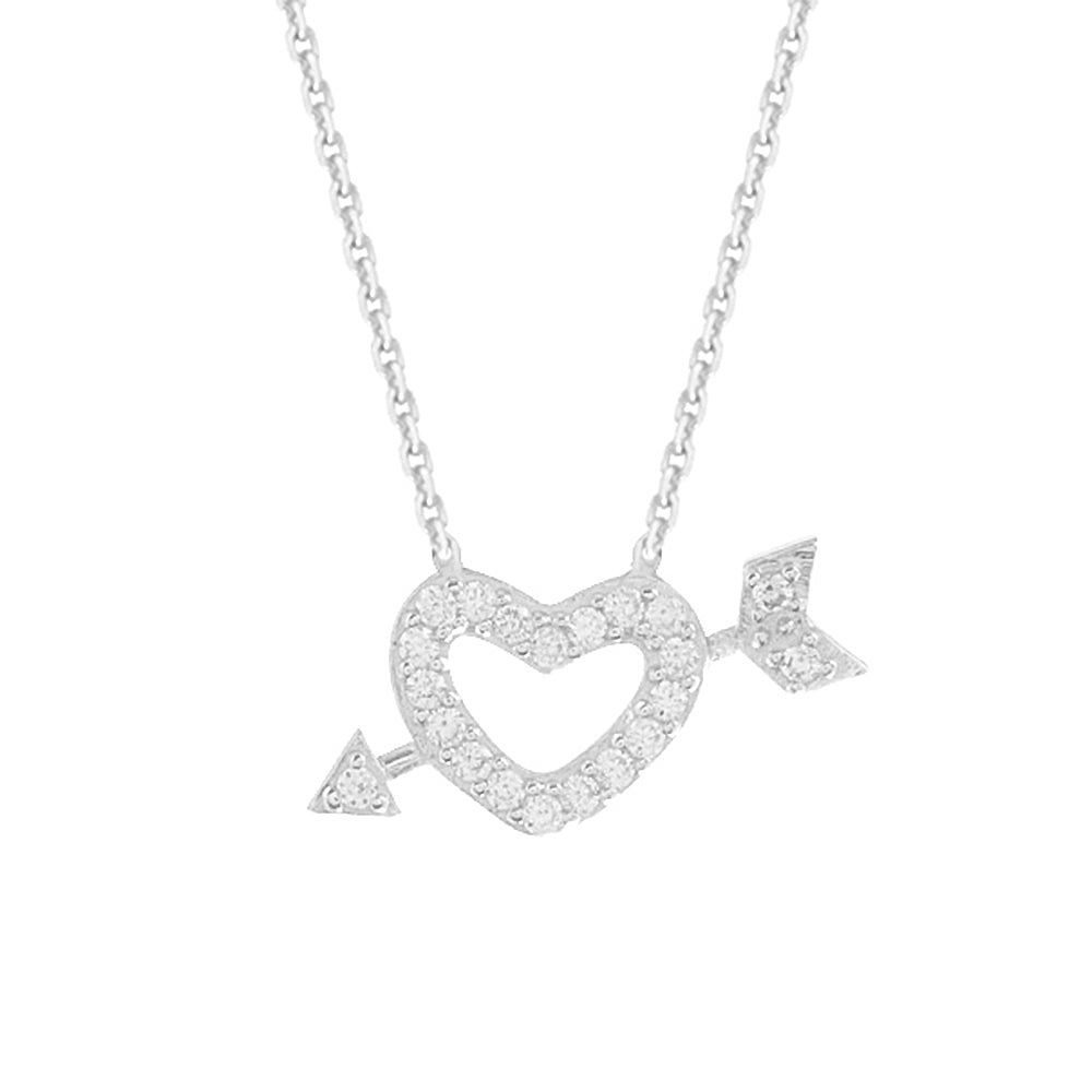 "14K White Gold Heart & Arrow Necklace. Adjustable Diamond Cut Cable Chain 16"" to 18"""