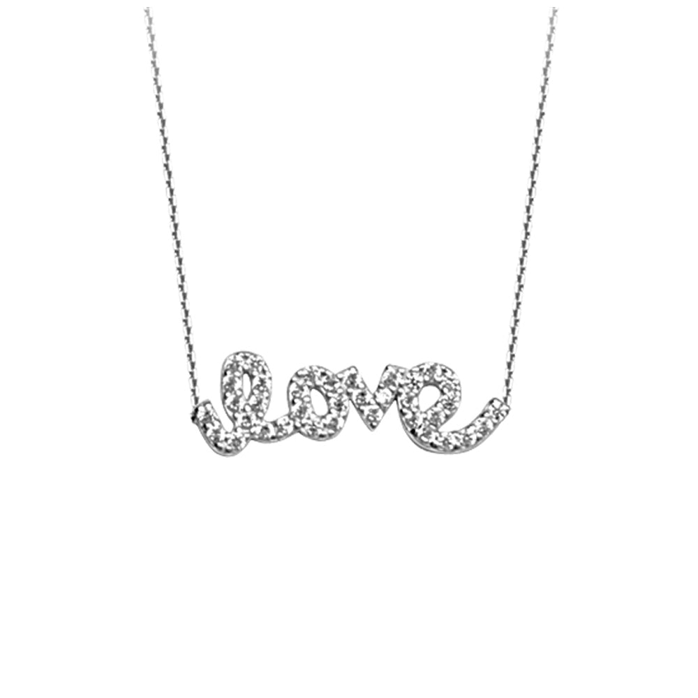 "14K White Gold Love Cubic Zirconia Necklace. Adjustable Cable Chain 16"" to 18"""