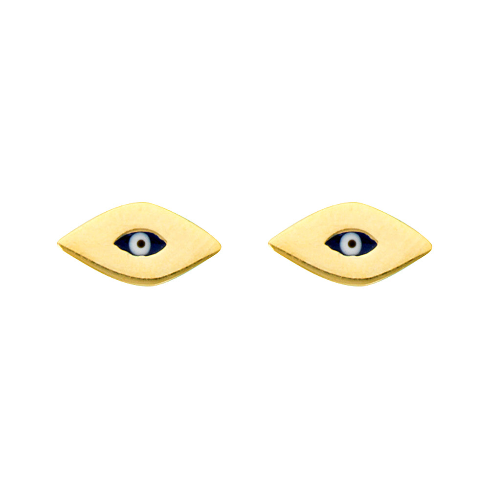 14K Yellow Gold Evil Eye Earring