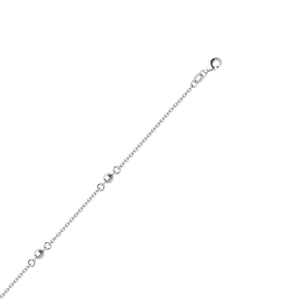 "Sterling Silver Diamond Cut Ball Anklet 11"" length"