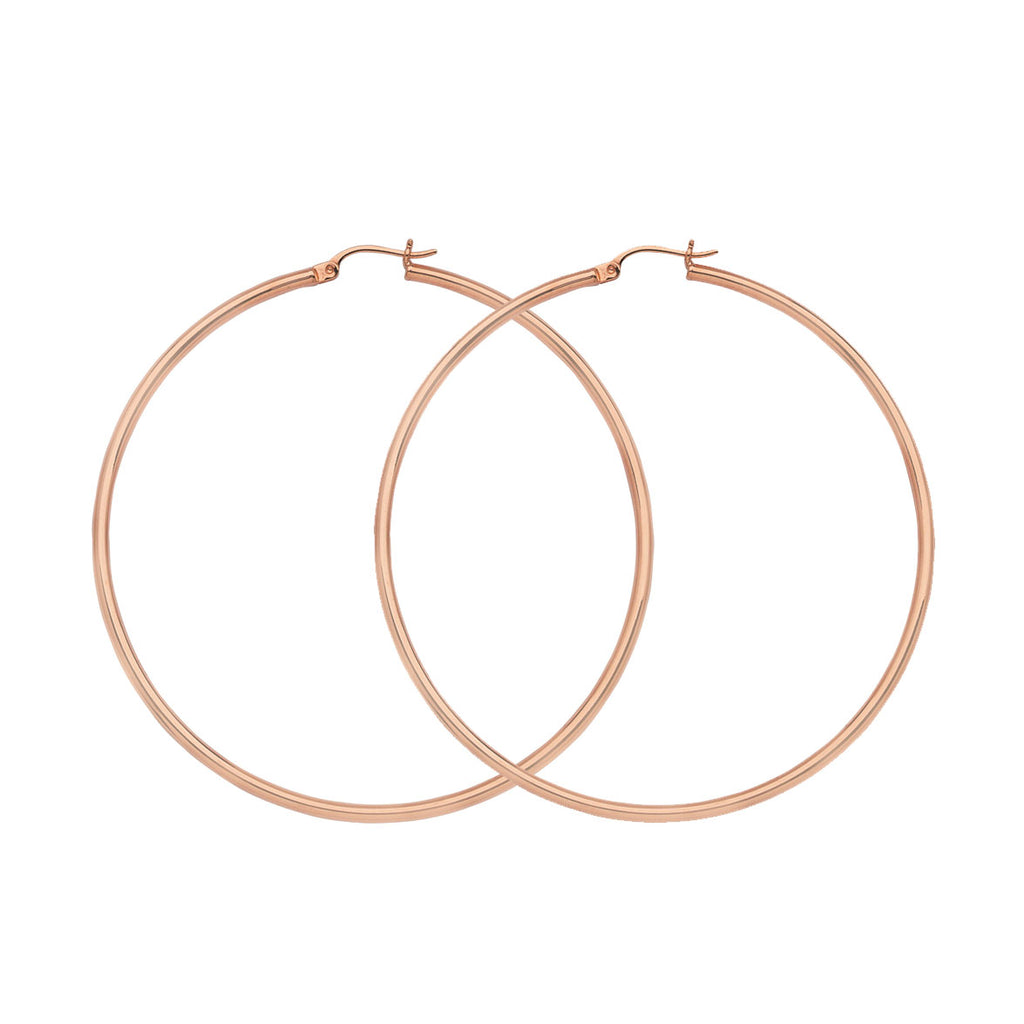 "14K Rose Gold 2 mm Light Weight Hoop Earrings 1.4"" Diameter"