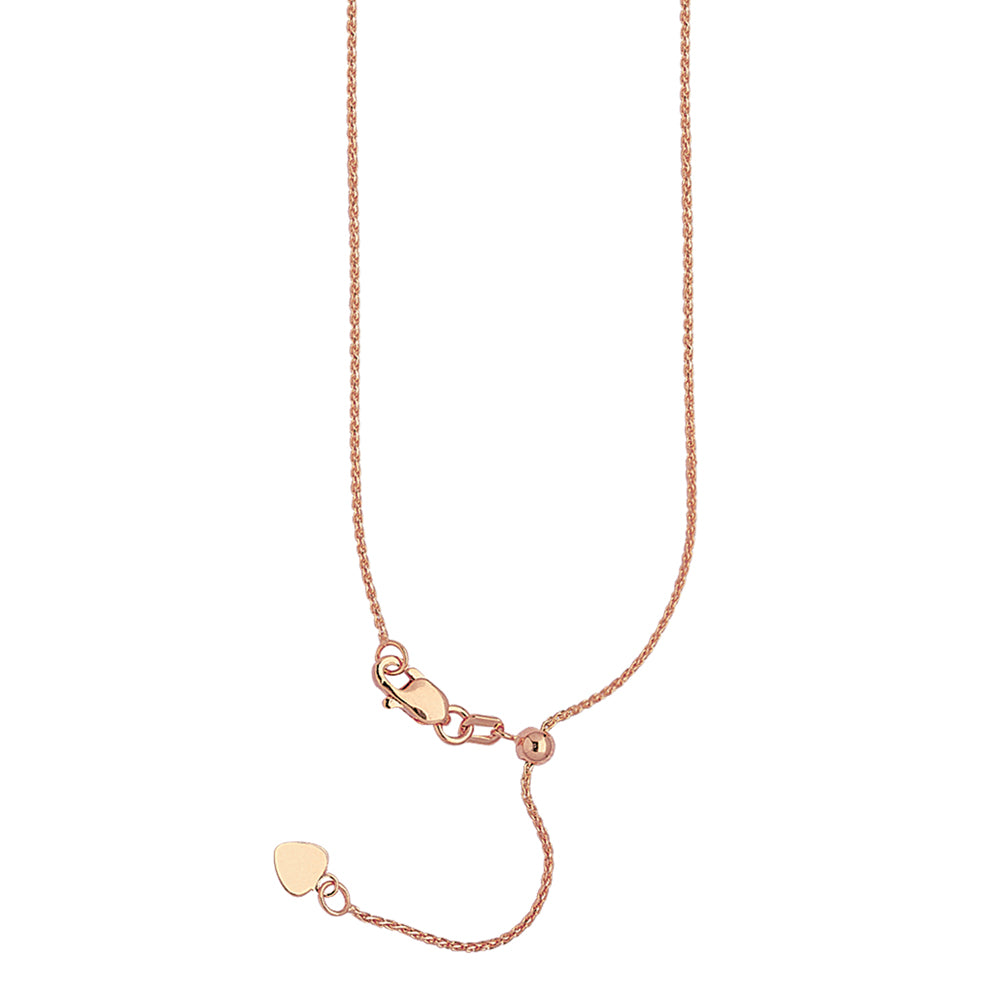 "22"" Adjustable Wheat Chain Necklace with Slider 14K Rose Gold 1.02 mm 2.9 grams"