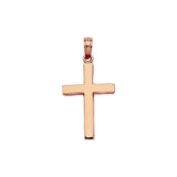 14K Rose Gold Beveled Style Cross Pendant