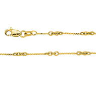 14K Yellow Gold Designer Twist Chain in 16 inch, 18 inch, & 20 inch