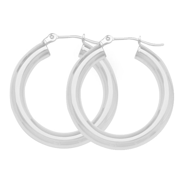 "925 White Sterling Silver 3 mm Light Weight Hoop Earrings 0.8"" Diameter"