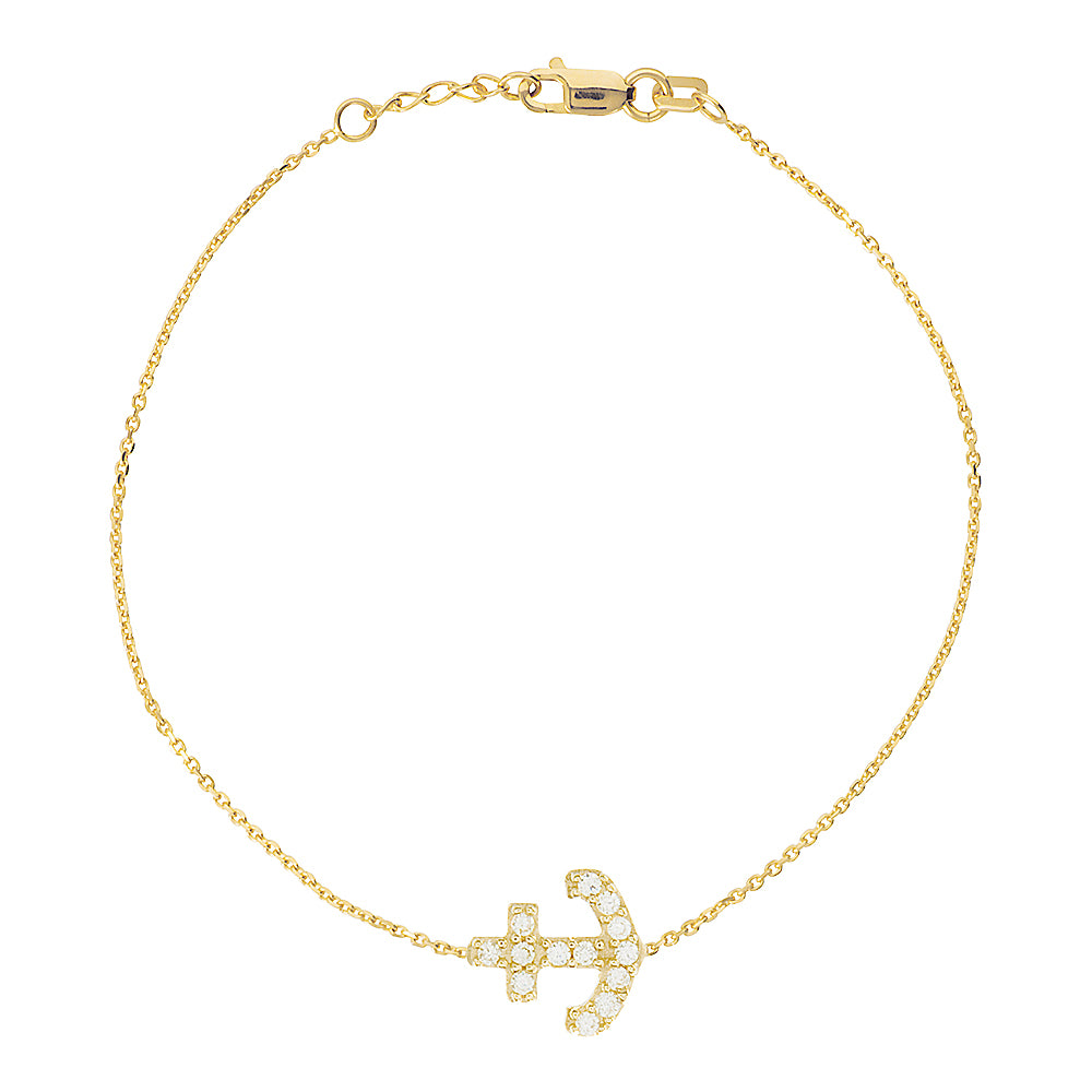 "14K Yellow Gold Cubic Zirconia Sideways Anchor Bracelet. Adjustable Cable Chain 7"" to 7.50"""