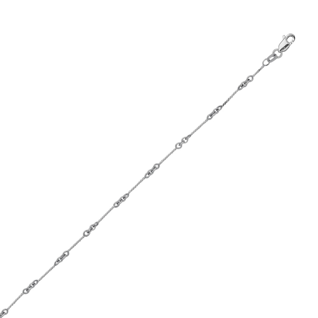 14K White Gold Designer Twist Chain in 16 inch, 18 inch, & 20 inch