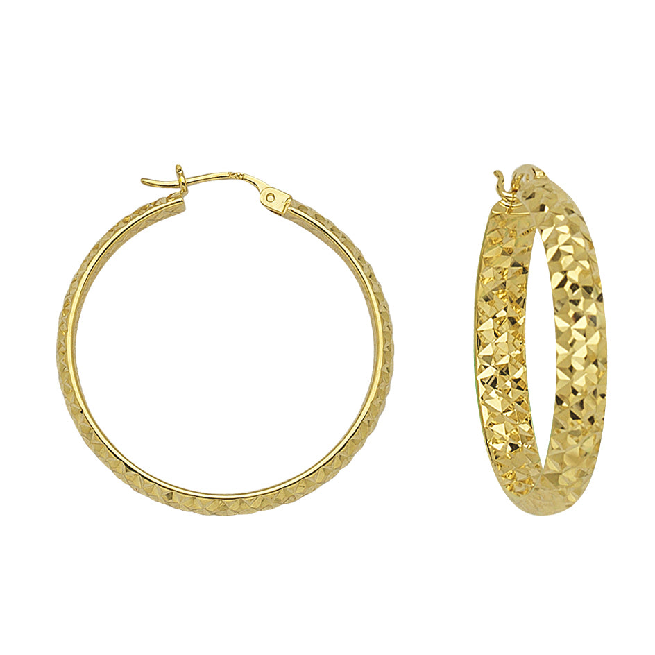 "14K Yellow Gold 3 mm Diamond Cut Hoop Earrings 0.8"" Diameter"