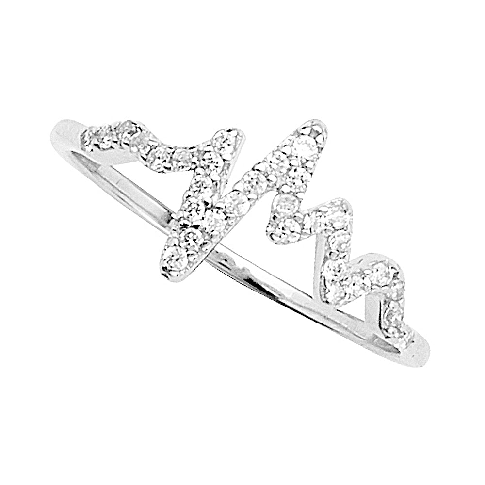 14K White Gold Cubic Zirconia Heartbeat Ring