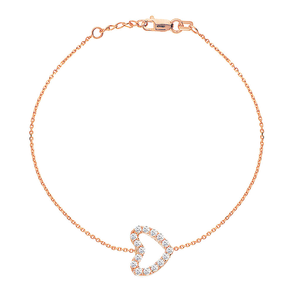 "14K Rose Gold Cubic Zirconia Heart Bracelet. Adjustable Diamond Cut Cable Chain 7"" to 7.50"""