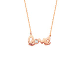 "14K Rose Gold Diamond Love Necklace. Adjustable Cable Chain 16"" to 18"""