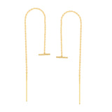14K Yellow Gold Sideways Bar Threader Earring