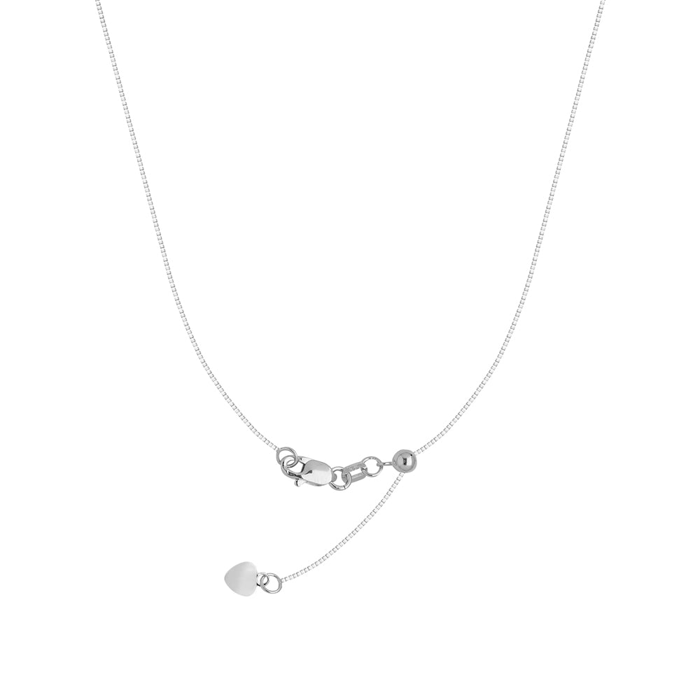 "22"" Adjustable Box Chain Necklace with Slider 925 White Sterling Silver 0.95 mm 3.1 grams"