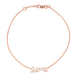 14K Rose Gold Cubic Zirconia Love Bracelet. Adjustable Diamond Cut Cable Chain 7