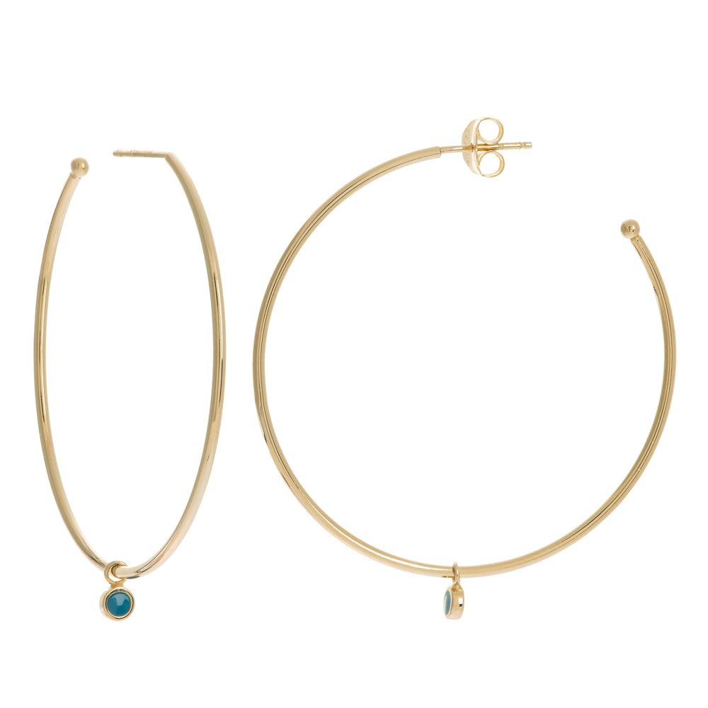 14K Yellow Gold Tourquiose Enable Disk Shakers on Hoop Earrings