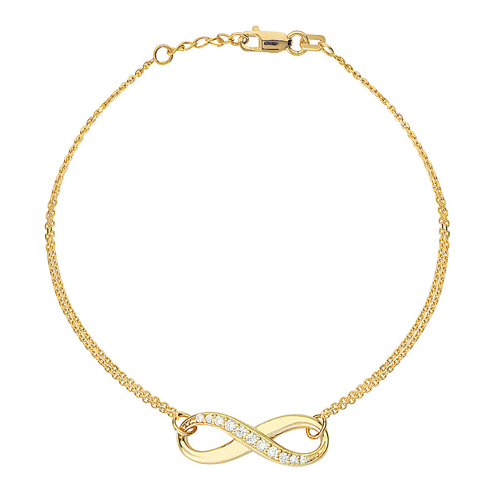 "14K Yellow Gold Infinity Cubic Zirconia Bracelet. Adjustable Cable Chain 7"" to 7.50"""
