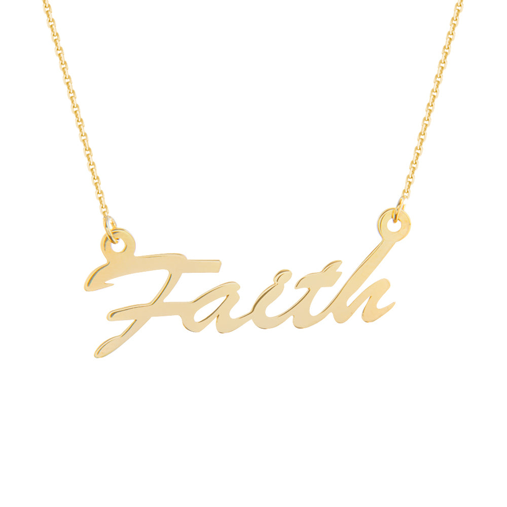 "14K Yellow Gold Faith Necklace. Adjustable Cable Chain 16"" to 18"""