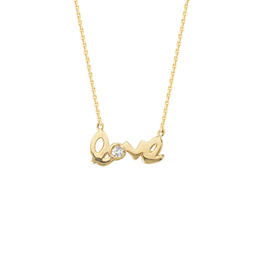"14K Yellow Gold Diamond Love Necklace. Adjustable Cable Chain 16"" to 18"""