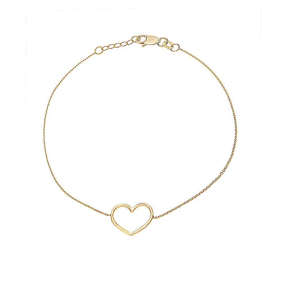 "14K Yellow Gold Open Heart Bracelet. Adjustable Cable Chain 7"" to 7.50"""