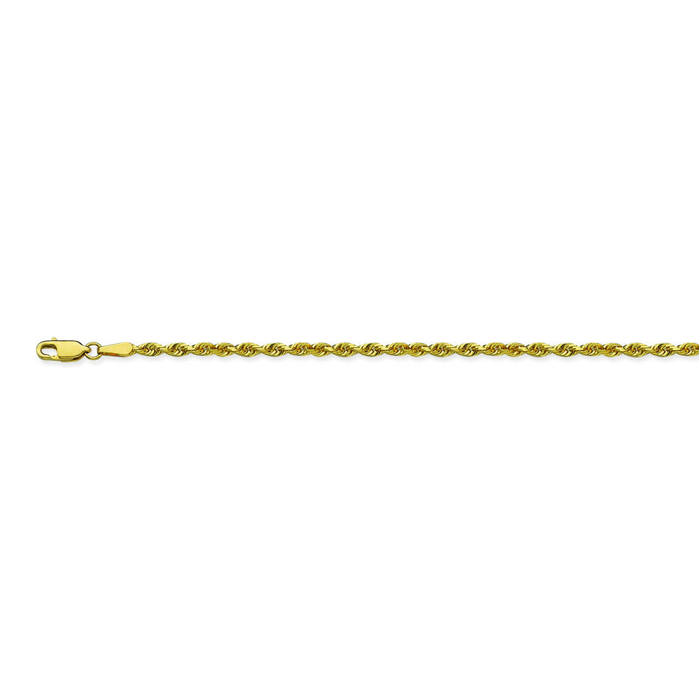 14K Yellow Gold 2.7 Diamond Cut Rope Chain in 20 inch, 22 inch, & 24 inch