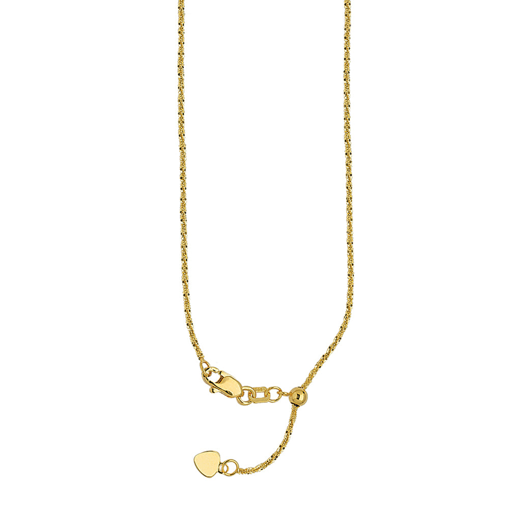 "22"" Adjustable Sparkle Chain Necklace with Slider 14K Yellow Gold 1.15 mm 2.85 grams"