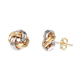 14K Yellow|White Gold Textured and Plain Tube Love Knot Earring