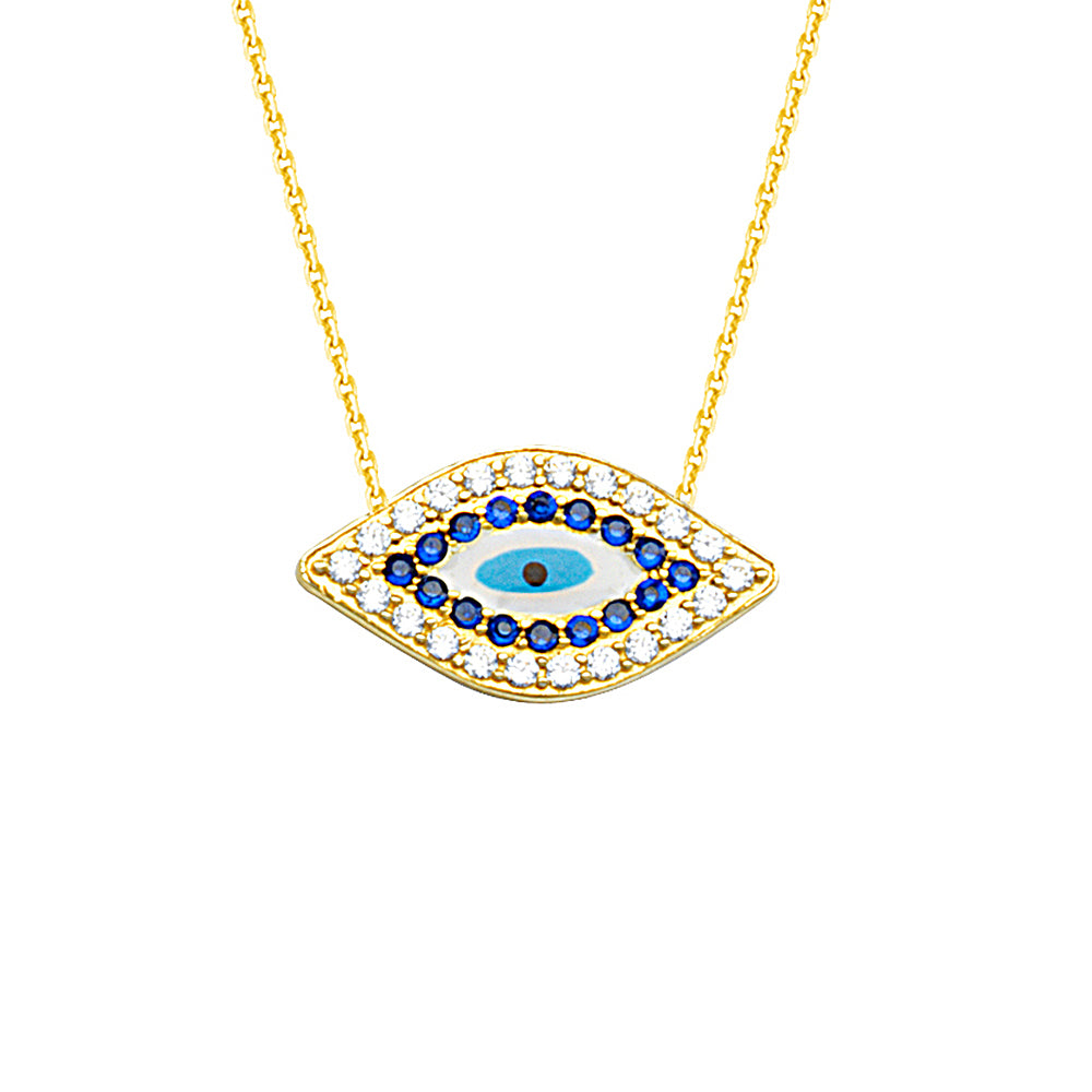 "14K Yellow Gold Sideways Evil Eye Cubic Zirconia Necklace. Adjustable Cable Chain 16"" to 18"""