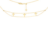 "14K Yellow Gold Double Stranded Triple Cross Choker Necklace. Adjustable 10""-16"""