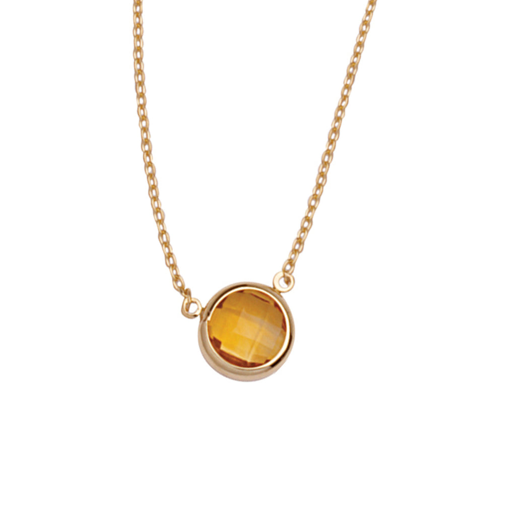 "14K Yellow Gold Bezel Set Citrine Necklace. Adjustable Cable Chain 16"" to 18"""