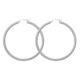 14K White Gold Rope Twist 3 mm Hoop Earrings