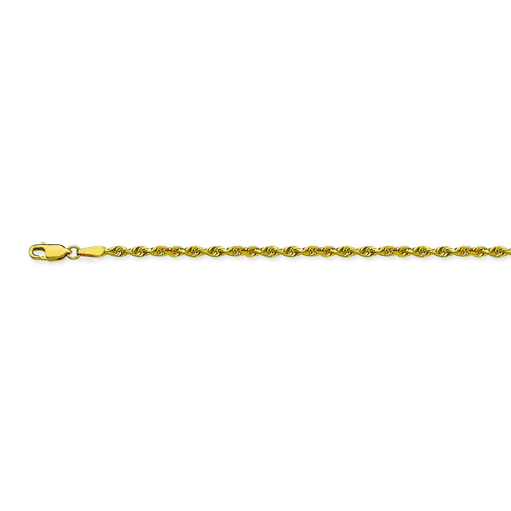 10K Yellow Gold 2.3 Diamond Cut Rope Chain in 20 inch, & 24 inch