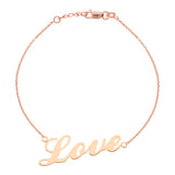 "14K Rose Gold Love Bracelet. Adjustable Cable Chain 7"" to 7.50"""