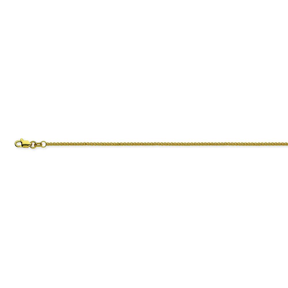 14K Yellow Gold 1.25 Round Wheat Chain in 16 inch, 18 inch, 20 inch, & 24 inch