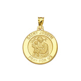 14K Yellow Gold Saint Joseph Round Medal With Text Saint Joseph. Pray for us