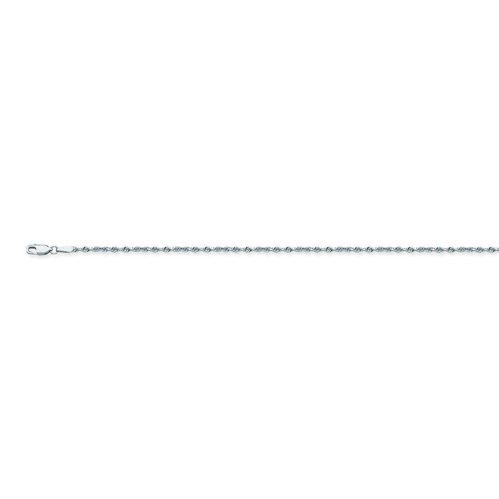 14K White Gold 1.56 Diamond Cut Rope Chain in 16 inch, 18 inch, 20 inch, & 24 inch
