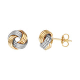 14K Yellow|White Gold Medium Tripple Tube Love Knot Earring