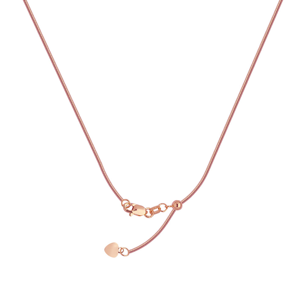 "22"" Adjustable Snake Chain Necklace with Slider 14K Rose Gold 1.4 mm 5.15 grams"