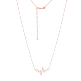 "14K Rose Gold Cubic Zirconia Heartbeat Necklace. Adjustable Diamond Cut Cable Chain 16"" to 18"""