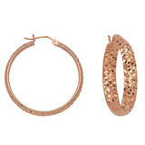 "14K Rose Gold 3 mm Diamond Cut Hoop Earrings 0.6"" Diameter"