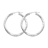 14K White Gold Diamond Cut Florentine 3 mm Hoop Earrings