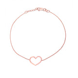 14K Rose Gold Open Heart Bracelet. Adjustable Cable Chain 7